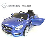 image of Licensed Mercedes Sl63 Amg Ride On 12v Electric Car With Remote Control - Metallic Blue