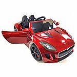 image of Licensed Jaguar F-type Ride On 12v Electric Car With Remote Control - Metallic Red