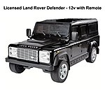 image of Licensed Land Rover Defender 12v Ride On Car With Remote Control - Metallic Black