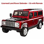 image of Licensed Land Rover Defender 12v Ride On Car With Remote Control - Metallic Red