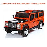 image of Licensed Land Rover Defender 12v Ride On Car With Remote Control - Orange