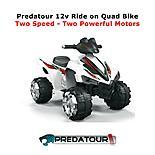 Predatour Electric Battery Powered 12v Ride On Kids Quad Bike - White