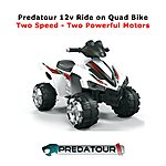 image of Predatour Electric Battery Powered 12v Ride On Kids Quad Bike - White
