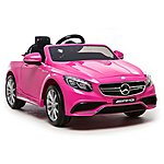 image of Licensed Mercedes S63 Amg 12v Ride On Electric Car With Remote Control - Pink