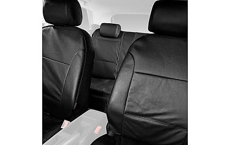 image of Halfords Advanced Leather Look Car Seat Covers Full Set - Black