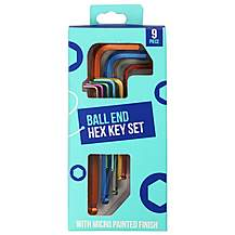 image of Halfords Colour 9 Piece Ball End Hex Key Set
