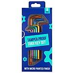 image of Halfords Colour 9 Piece Tamper Proof Star Key Set
