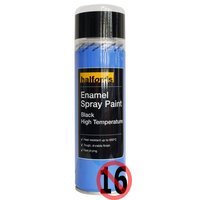 Halfords Enamel High Temperature Spray Paint Black 300ml