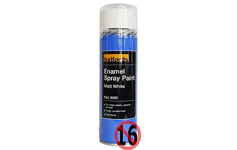 image of Halfords Enamel Spray Paint Matt White 300ml