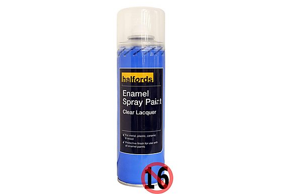 Halfords Enamel Clear Lacquer Spray 300ml