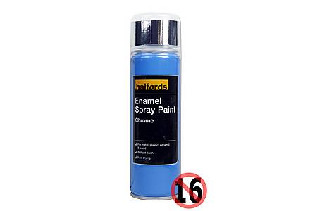 image of Halfords Enamel Spray Paint Chrome 300ml