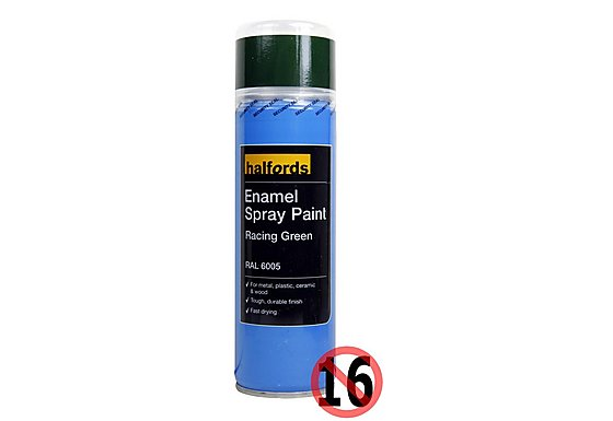 Halfords Enamel Spray Paint Racing Green 300ml