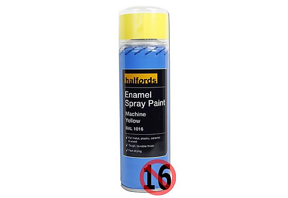 Halfords Enamel Spray Paint Machine Yellow 300ml