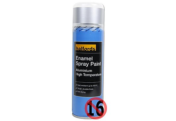 Halfords Enamel High Temperature Spray Paint Aluminium 300ml