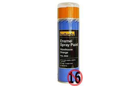 image of Halfords Enamel Spray Paint Warehouse Orange 300ml