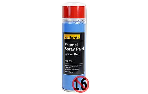 image of Halfords Enamel Spray Paint Ignition Red 300ml