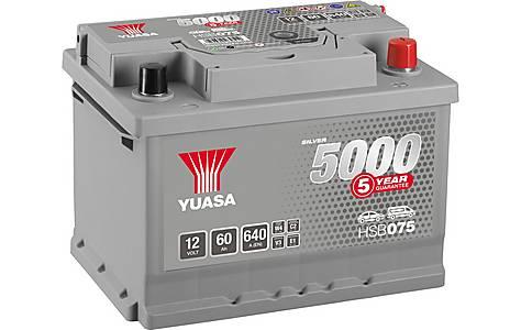 image of Yuasa 12V Silver Car Battery HSB075 - 5 Yr Guarantee