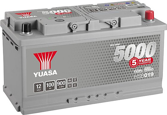Yuasa 12V Silver Car Battery HSB019 - 5 Yr Guarantee