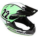 image of Motobike MXR250 Full Face Kids Bike Helmet - Green (48-54cm)