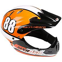 image of Motobike MXR250 Full Face Kids Bike Helmet - Orange (54-58cm)