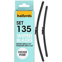 image of Halfords Set 135 Wiper Blades - Front Pair