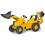 image of Robbie Toys CAT Tractor With Frontloader & Rear Excavator Pedal Ride On