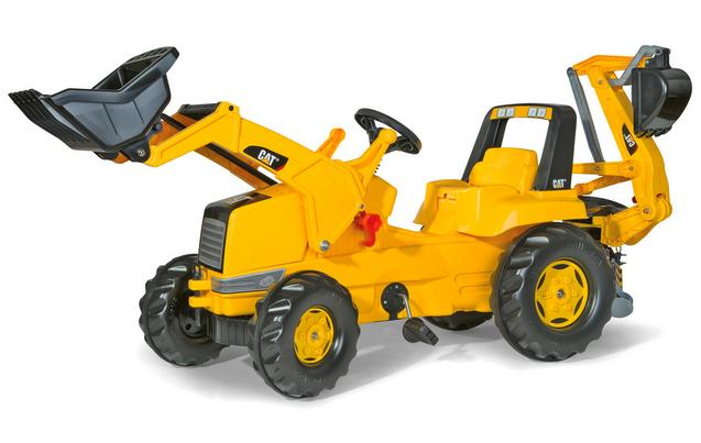 image of robbie toys cat tractor with frontloader rear excavator pedal ride on