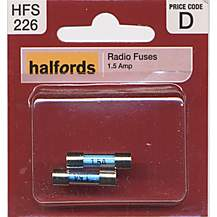 image of Halfords Radio Fuses 1.5 Amp - Pack of 2