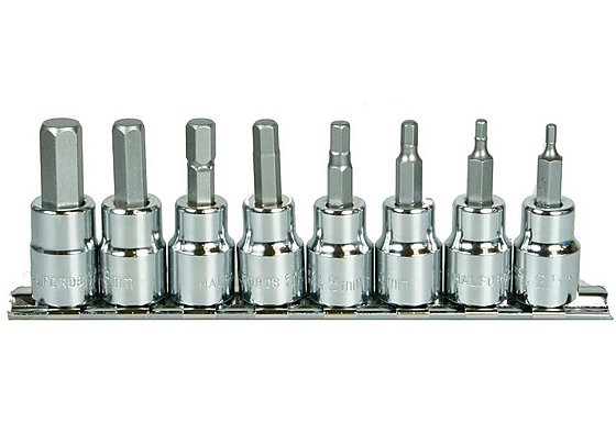 Halfords Advanced Professional 8 Piece Hex Bit Socket Rail 3/8