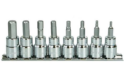 image of Halfords Advanced 8 Piece Hex Bit Socket Rail 3/8""