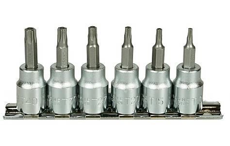 image of Halfords Advanced Professional 6 Piece Torx Bit Socket Rail 3/8""