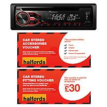 image of Pioneer DEH-1800UB Car Stereo and fitting voucher bundle