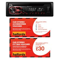 Pioneer DEH-1800UB Car Stereo and fitting voucher bundle