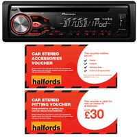 Pioneer DEH-4800BT Car Stereo and fitting voucher bundle
