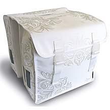 image of Basil Blossom Double Bike Pannier Bag - White