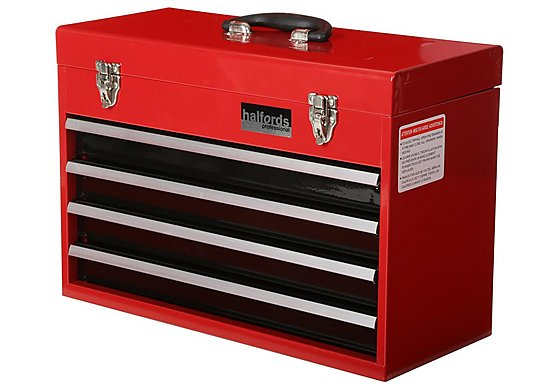 Halfords Professional 4 Drawer Metal Portable Tool Chest
