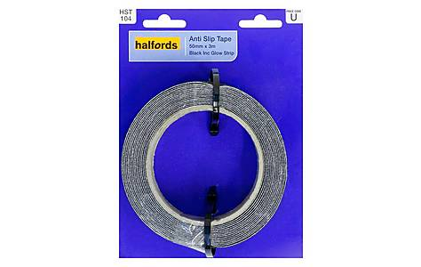 image of Halfords Anti-Slip Tape 50mmx3m Black with Glow Strip