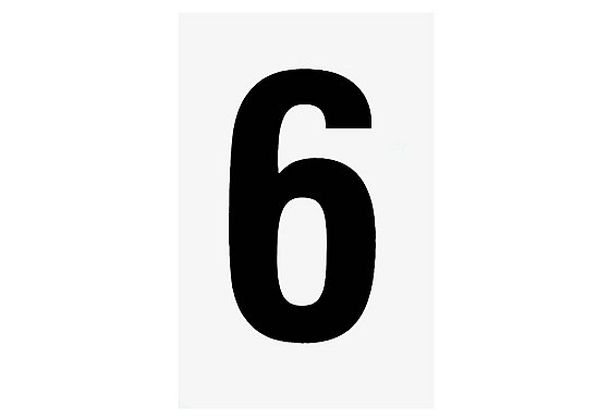 Black Number '6' on White Background
