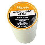 Harris Masking Tape (50mmx25m) 4 Pack