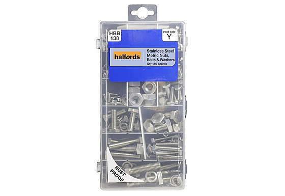 Halfords Assorted Stainless Steel Nuts, Bolts & Washers