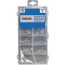 image of Halfords Assorted Stainless Steel Screws, Nuts & Washers