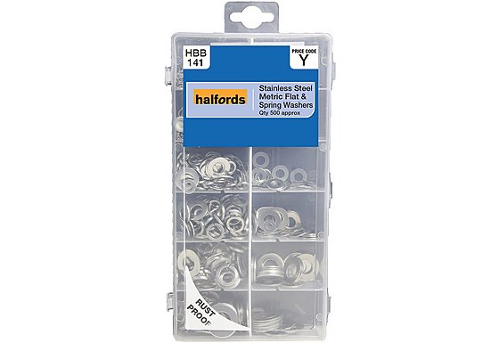 Halfords Assorted Stainless Steel Flat & Spring Washers