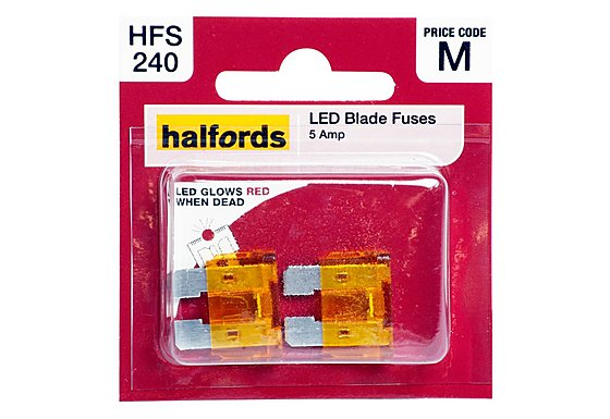 Halfords LED Blade Fuses 5 Amp