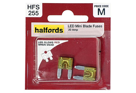 Halfords LED Mini Blade Fuses 20 Amp