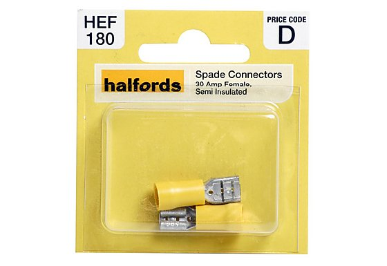 Halfords Spade Connectors 30 Amp Female Semi Insulated