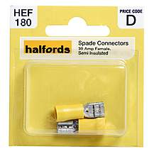 image of Halfords Spade Connectors 30 Amp Female Semi Insulated