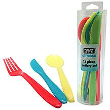image of 12 Piece Plastic Rainbow Cutlery Set