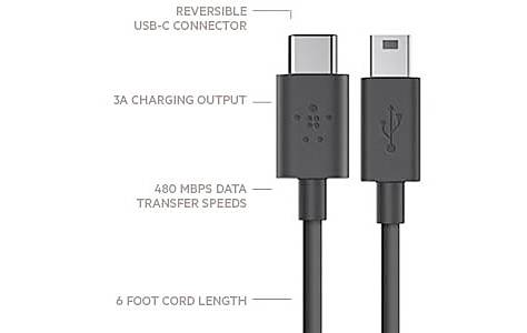 image of Belkin 2.0 USB-C to Mini-B Charge Cable