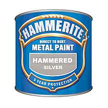 image of Hammerite Direct to Rust Metal Paint Hammered Silver 250ml