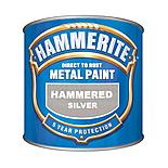Hammerite Direct to Rust Metal Paint Hammered Silver 250ml